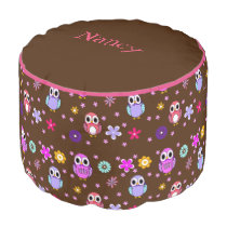 Cute Girly Cartoon Owls Pouf Seat