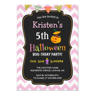 Cute Girly Chevron Kid's Halloween Birthday Party Card