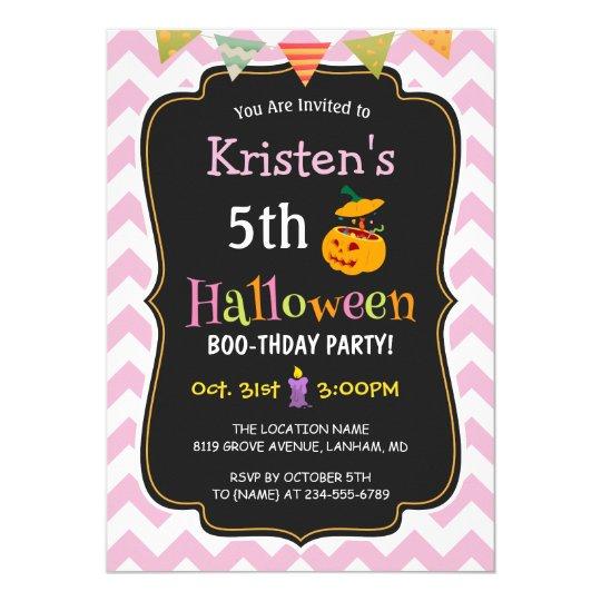 Cute Girly Chevron Kids Halloween Birthday Party Invitation