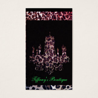 Cute girly chic leopard print chandelier business card