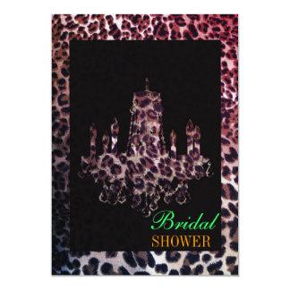 Cute girly chic leopard print chandelier card