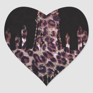 Cute girly chic leopard print chandelier heart sticker