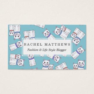 Cute Girly Christmas Holiday Polar Bears Business Card