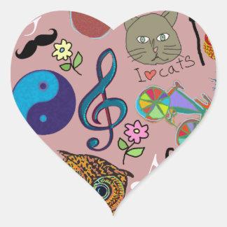 cute girly color pattern heart sticker