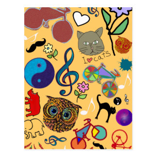 cute girly color pattern postcard