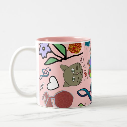 cute girly color pattern Two-Tone coffee mug