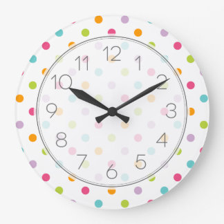 Cute Girly Colorful Polka Dots Clock