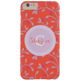 Cute girly colorful red floral pattern monogram barely there iPhone 6 plus case
