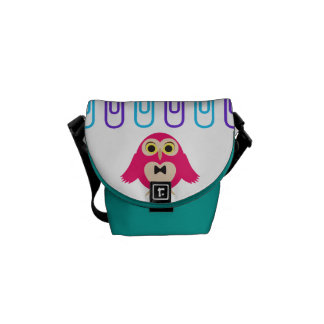 Cute Girly Colourful owls and clips Messenger Bag