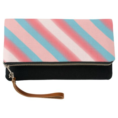 Cute Girly Coral Pink and Teal Blue Gradient Clutch