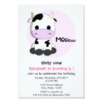 Cute girly cow polkadots girl kids birthday party invitation