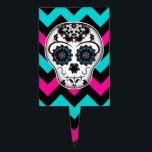 "Cute girly day of the dead sugar skull chevron cake topper<br><div class=""desc"">Day of the dead sugar skull girly style on a hot pink,  turquoise,  and black on a cake pick.</div>"