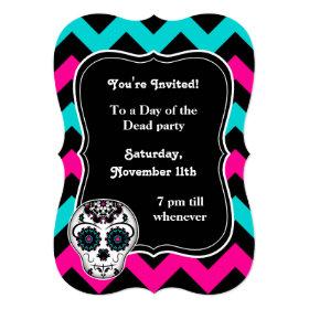 Cute girly day of the dead sugar skull chevron 5x7 paper invitation card