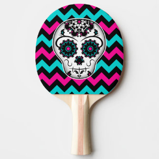 Cute girly day of the dead sugar skull chevron Ping-Pong paddle