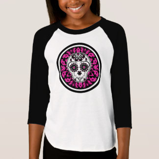Cute girly Day of the Dead sugar skull custom kids T-Shirt