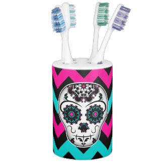 Cute girly day of the dead sugar skull decor toothbrush holder
