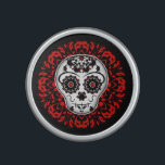 """Cute girly day of the dead sugar skull red bluetooth speaker<br><div class=""""desc"""">Day of the dead sugar skull girly style in red and black on a speaker.</div>"""