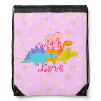 Cute Girly Dinosaurs With Love Hearts Pattern Drawstring Backpack