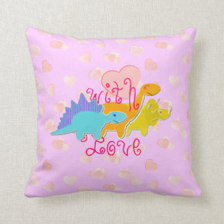Cute Girly Dinosaurs With Love Hearts Pattern Throw Pillow