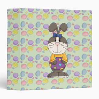 cute girly easter bunny with spotted egg 3 ring binder