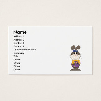cute girly easter bunny with spotted egg business card