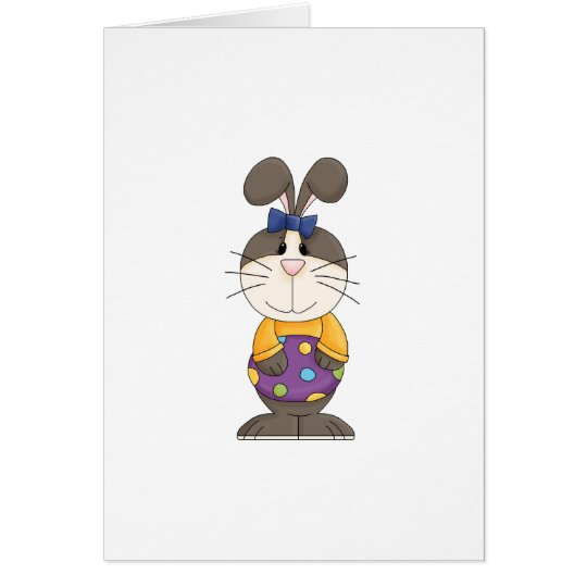 cute girly easter bunny with spotted egg card
