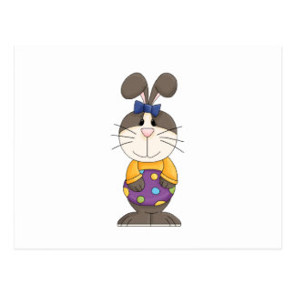 cute girly easter bunny with spotted egg postcard