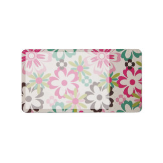 Cute girly elegant colourful spring flowers shapes label