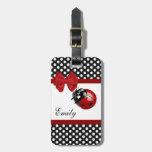 Cute girly elegant ladybug polka dots monogram travel bag tags