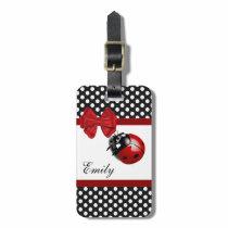 Cute girly elegant ladybug polka dots monogram luggage tag