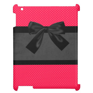 Cute Girly Elegant Red Polka Dots -Black Bow Case For The iPad 2 3 4