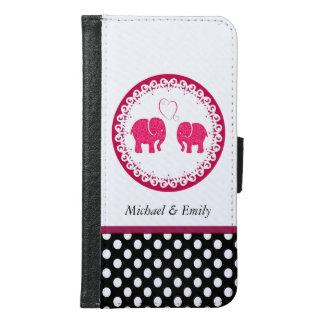Cute girly elphants in love polka dots monogram samsung galaxy s6 wallet case