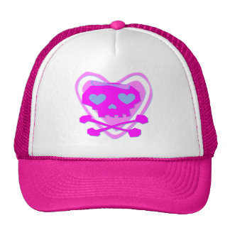 CUTE & GIRLY EMO SKULL & CROSSBONES WITH A HEART TRUCKER HAT