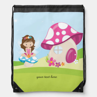 Cute girly fairy drawstring backpack