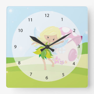 Cute girly fairy square wall clock