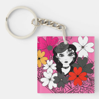 Cute Girly Fashion and Flowers Illustration Keychain