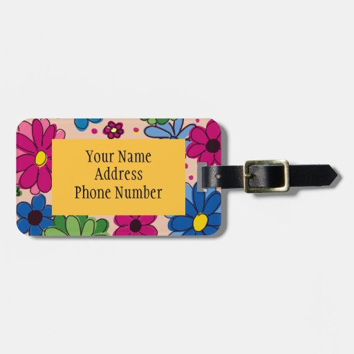 Cute Girly Floral on Peach Luggage Tag Tag For Bags