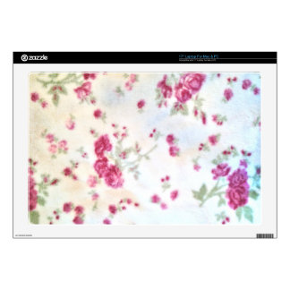 cute girly floral shabby chic white red fuzzy fun skin for laptop