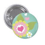 Cute girly flower 1 inch round button