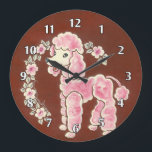 """Cute Girly Fluffy Pink Poodle Dog Large Clock<br><div class=""""desc"""">Cute, girly pink poodle puppy dog. He has a happy smile and is surrounded by a garland of pretty pink roses. Girly, fun. and fashionable. Original acrylic painting by artist Angela Flemming. Original Fine Art &#169; by Angela F. All The Materials Contained May Not Be Reproduced, Copied, Edited, Modified, Published,...</div>"""