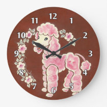 Cute Girly Fluffy Pink Poodle Dog Large Clock
