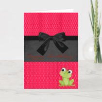 Cute Girly Frog On Red Polka Dots ,Birthday Card