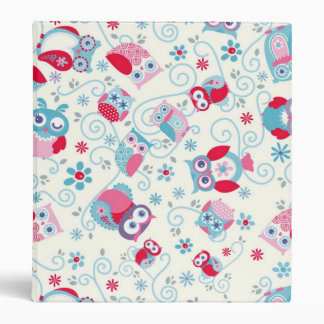 cute girly funny faces owls flowers swirls pattern 3 ring binder