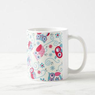 cute girly funny faces owls flowers swirls pattern classic white coffee mug