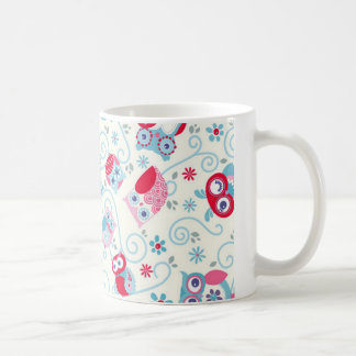 cute girly funny faces owls flowers swirls pattern coffee mug