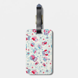 cute girly funny faces owls flowers swirls pattern tag for luggage