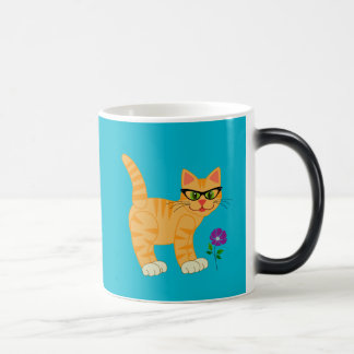 Cute Girly Geeky Cat with Hipster Glasses Mug