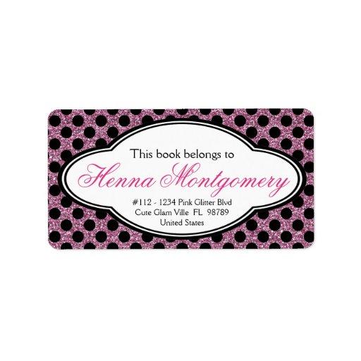 Cute Girly Glitter Look PINK polkadot Bookplate Personalized Address Labels