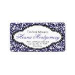 Cute Girly Glitter Look Purple Bookplate Address Label