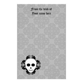 Cute girly gothic glam skull Halloween Stationery Design